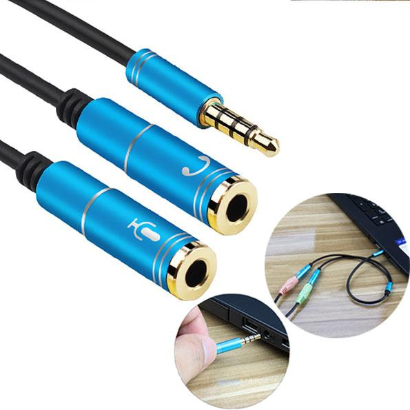 2 in 1 3.5mm Male to Audio Mic Splitter Cable Adapter for Computer PC Cord Converter