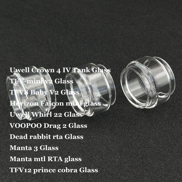 Tubo de vidrio para lámpara de repuesto para Crown 4 IV Whirl 22 TFV-mini v2 TFV8 Bebé V2 Falcon mini Drag 2 Manta 3 MTL TFV12 Prince Cobra DHL