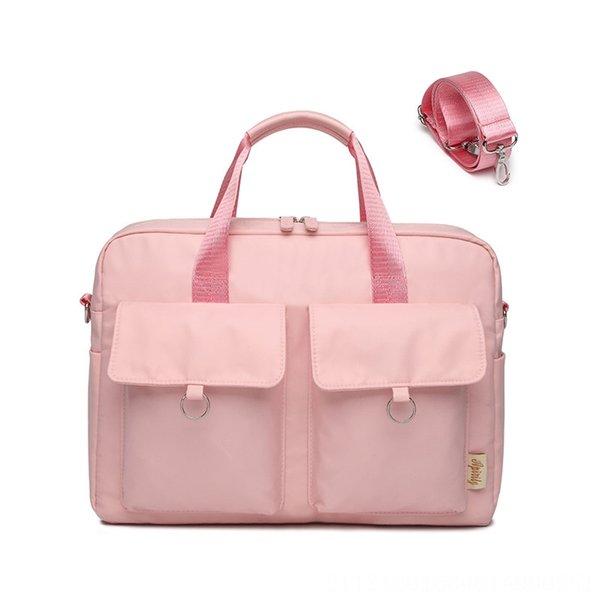 Doble hombro del ordenador portátil de bolsillo bolsa (rosa)
