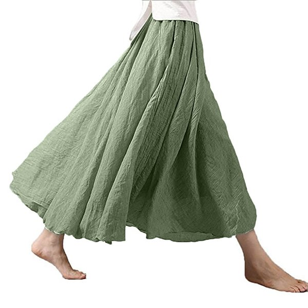 faldas mujer moda 2019 Women's fashion Bohemian Style Elastic Waist Band Cotton Linen Long Maxi Skirt jupe femme black white