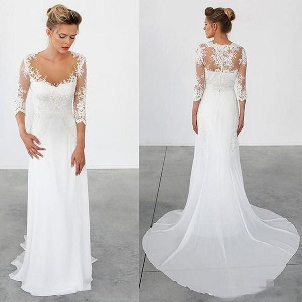 Simple Beach Wedding Dresses 3/4 Long Sleeves Vintage Wedding Gowns Bohemian Sheath Chiffon Greek Bridal Gowns Custom Made