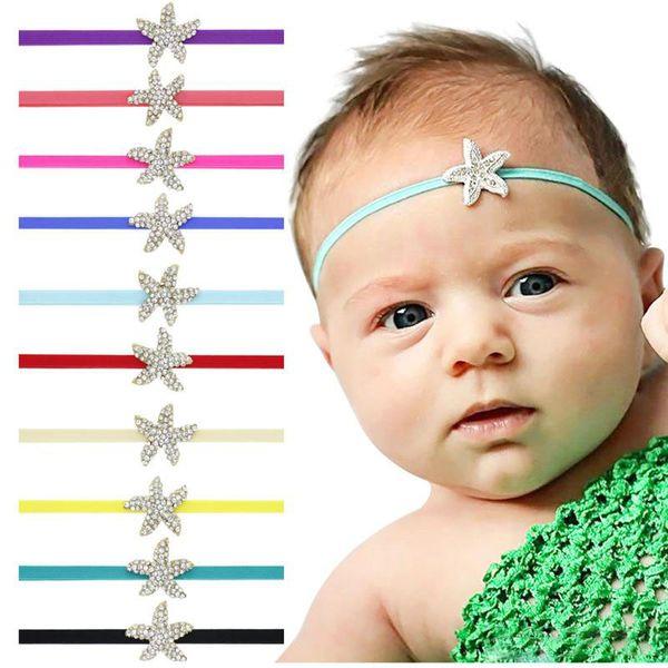 Baby headbands Rhinestone Starfish hairbands Newborn infant elastic head bands girls kids hair accessories princess headdress