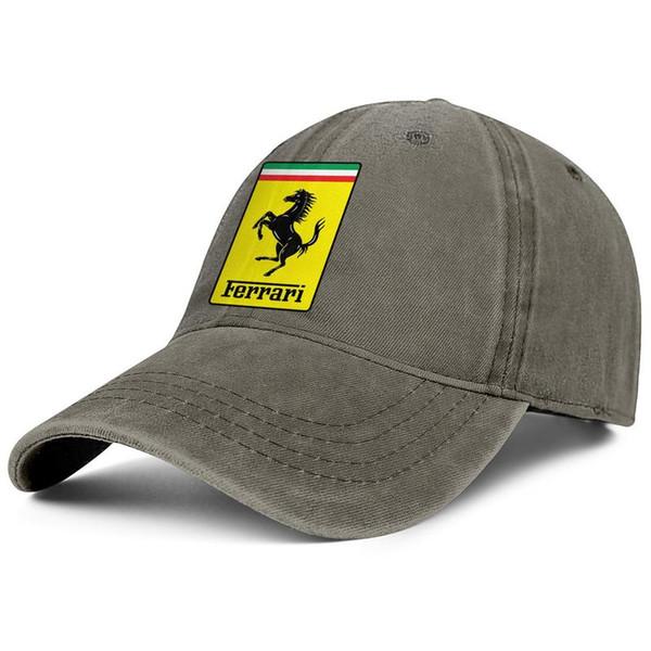 Vintage Denimhüte der Mannfrauen, die die kundenspezifischen Fischenkappen der justierbaren Ferrari-Logo kühlen Vati-Kappen im Freien waschen