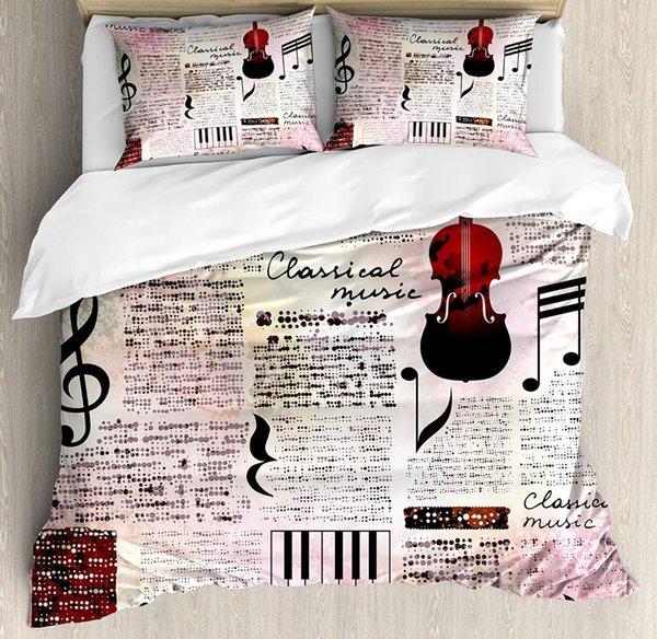 Copripiumino Musica.Acquista Old Newspaper Decor Copripiumino Set Queen Size Classica