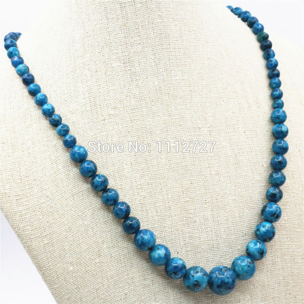 6-14mm Natural Ornaments Blue Epidote Chalcedony Beads Lucky Stones Necklace Chain Women Gift Jewelry DIY Hand Made Accessories