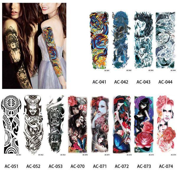 Sexy Waterproof Temporary Tattoo Sticker Full Arm Sleeve Large Skull Tatoo Stickers Decals Body Art Fake Tattoos for Men Women