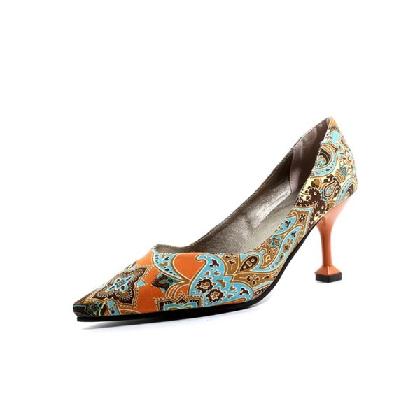 Women Sexy Bohemia High Heels Floral Pumps Pointed Toe Slip on Dress Shoes Lady Party Evening Stiletto Casual Sandals