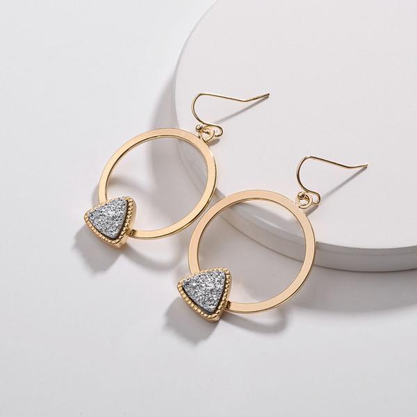 MICHAEL KENDRA INS Kreis Rahmen Dreieck Druzy Drusy Ohrringe Modeschmuck Fancy Drop Statement Ohrringe für Mädchen