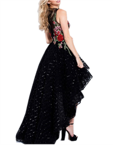 Elegant Women's Floral Embroidery Homecoming Party Dress Tulle High Low Formal Dress O Neck Evening Prom Dress
