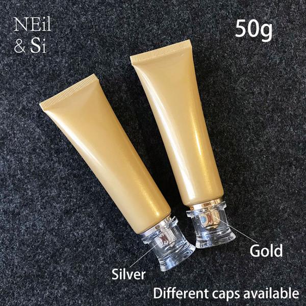 50ml ouro plástico macio Garrafa 50g Facial Cleanser Creme para as Mãos Squeeze tubo Concealer Foundation Lotion Bottle frete grátis