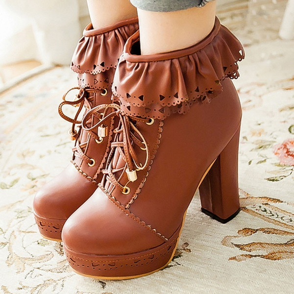 1Sweet Boots Women 2019 Cross Tied Platform Ankle Boots For Women Round Toe Super High Heel Boots Shoes Botines Mujer