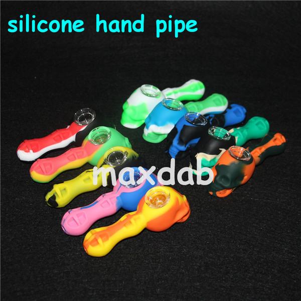 En existencias Colorido Silicon Oil Rigs Silicone hand Pipe Hand Spoon Pipe Hookah Bongs Con Recipiente De Vidrio Envío Gratis
