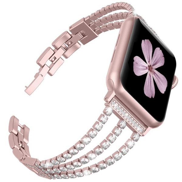Novas mulheres diamante faixa de relógio para a apple watch 38mm 42mm 40mm 44mm iWatch Série 4 3 2 cinta de Aço Inoxidável Pulseira Esporte