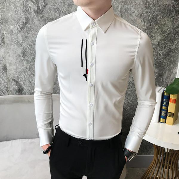 British Style Dress Shirt Men Fashion 2018 Autumn New Slim Fit Prom Tuxedo Long Sleeve Embroidery Mens Shirts Casual Blouses Man
