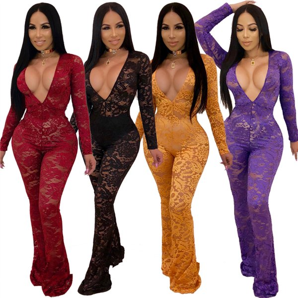 Long Sleeve Floral Lace Jumpsuit Women Sexy Deep V Neck Flare Pants Romper Night Club Party Overalls Female Outfits