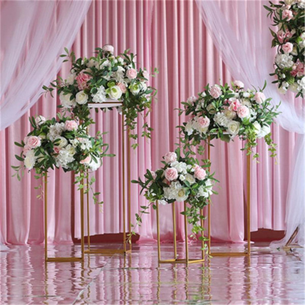 Square Floor Vases Flowers Vase Column Stand Metal Pillar Road Lead Wedding Centerpieces Rack Event Party Christmas Decoration Items For Birthday