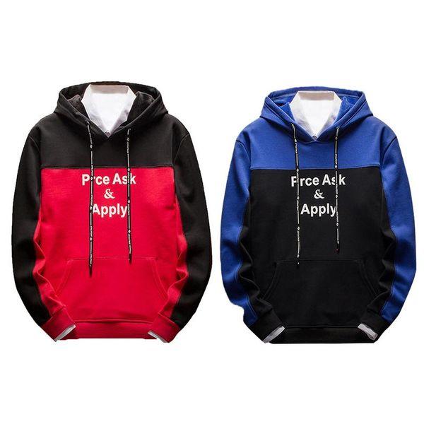 Men's Hooded Sweatshirt Male Warm Composite Velvet Pullover Quality Sports Coat Autumn Japanese Winter Street Style Red Blue