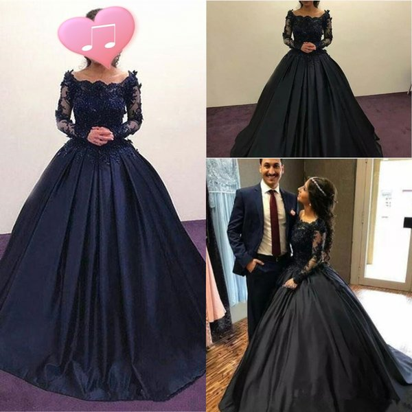 South Arabic Black Evening Dresses With Scoop Neck Sheer Long Sleeves Formal Prom Party Gowns Appliques Lace Ball Gown Vestidos de fiesta