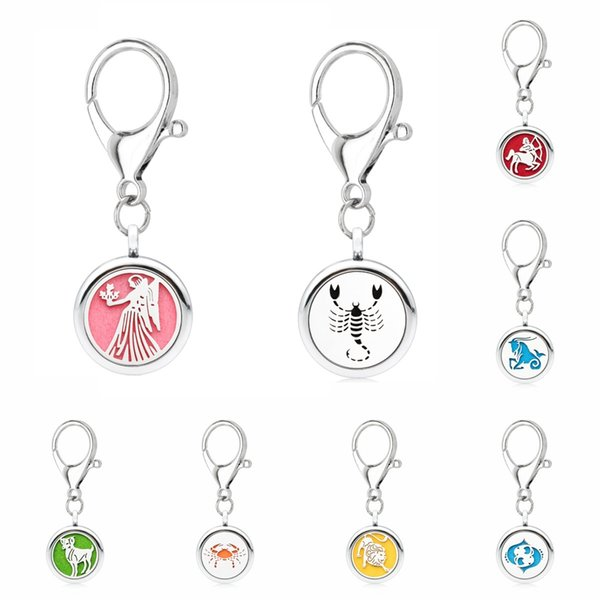 Silver Essential Oil Diffuser Keychain DIY 25mm Aroma Locket constellations Key Ring fit pet collar 5pcs pads