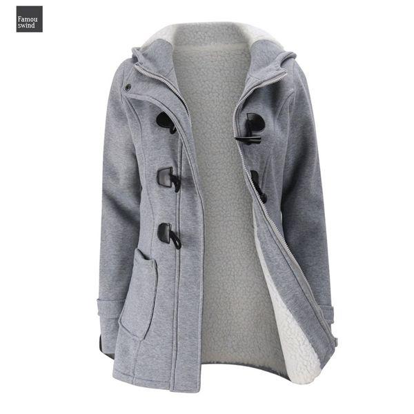 Coat Jacket Winter Women Wool Blend Praka Classic Horn Leather Full Buckle Coat Slim Ladies Winter Jacket For Woman Parka