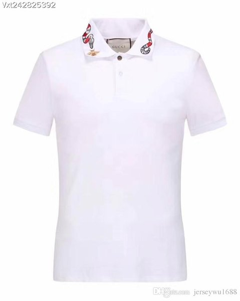 19ss New Fashion Men Bee chapter embroidery Polo Shirt Solid Color Slim Fit Polo Men short sleeves Mercerized Cotton Casual Polos Shirt Mens