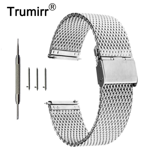 16 mm 18 mm 20 mm 22 mm Universal milanais Watchband Quick Release bande Watch Mesh Bracelet en acier inoxydable Bracelet poignet ceinture noire Y191029
