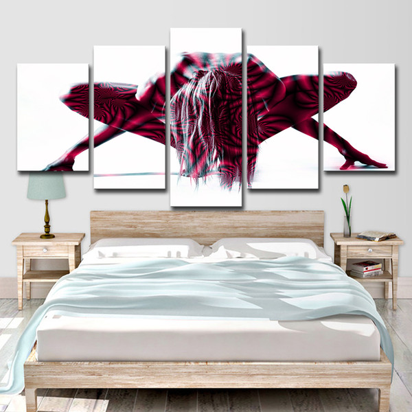 HD Printed 5 Piece Canvas Art Nude Woman Painted Body Art Painting Wall Pictures for Living Room