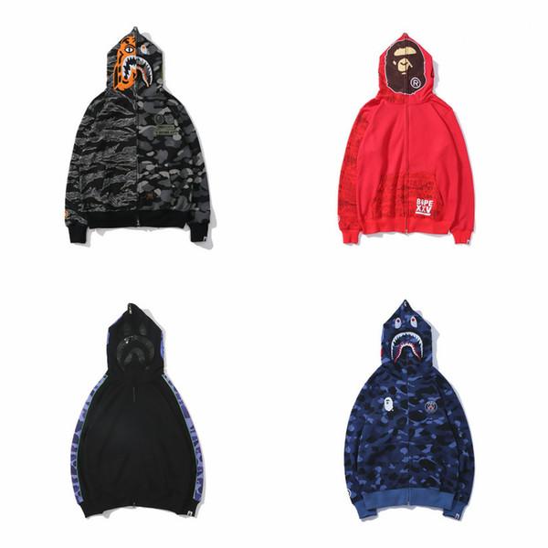 Chaquetas de diseñador para hombre que bañan aape shark off gris camo blanco mono chaquetas con cremallera completa hip hop para hombre joggers abrigos de invierno para hombre