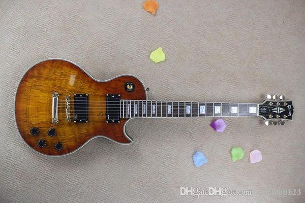 Yeni LP G Custom dükkanı gün batımı doğa ahşap rengi EMG stokta elektro gitar manyetikler