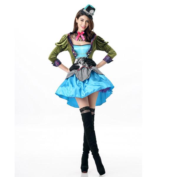 Alice Crazy Hat Mad Hatter Costume Halloween Makeup Party Performance Uniform Adult Women