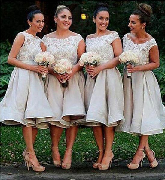 Custom Made Short Bridesmaid Dresses A-Line Illusion Bateau Neckline Romantic Lace Top Bridesmaids Gowns Under Knee Length DH268