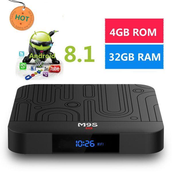2019 Best selling M9S J1 Android 8.1 TV Box 4GB 32GB RK3328 Quad Core 4K Set Top Box 2.4G WiFI H.265 3D 4K BT4.0 Media Player Set Top Box