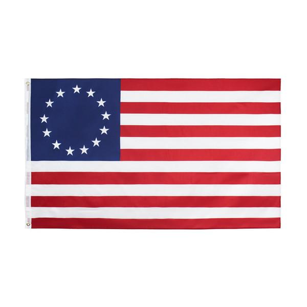 Американский Бетси Росс Флаг полиэстер 90 * 150 см 13 звезд США Американский Бетси Росс Флаг Для Украшения ZZA1132