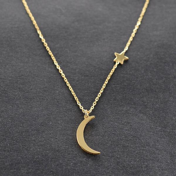 Einfache und vielseitige star moon kupfer anhänger halskette für frauen neue aussage halsketten modeschmuck geschenk