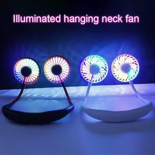 Ventilador pequeño cabeza doble luz led usable usb carga aroma perezoso colgante cuello ventilador tres generaciones
