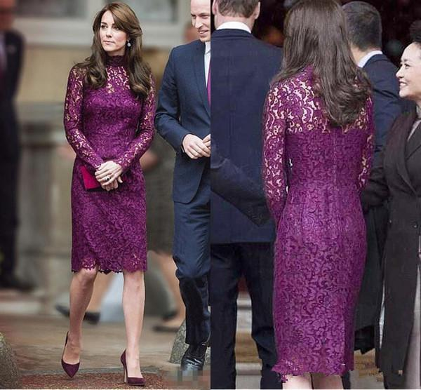 Kate Middleton Short Evening Dresses for Women Wear with Elegant Knee Length Sheath Lace Long Sleeve Purple Cocktail prom Formal Gowns