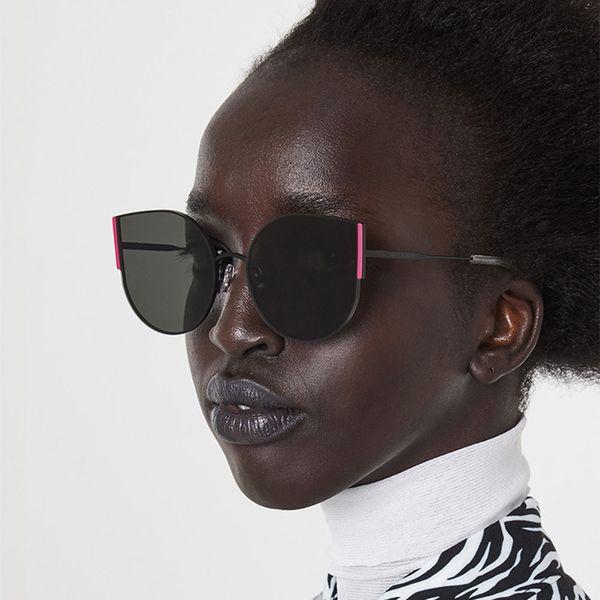 2019 New GM Cat Eye Sunglasses Women Vintage Metal Oversized Sun Glasses Ladies Heart Eyeglasses Pink Yellow Lens Fashion