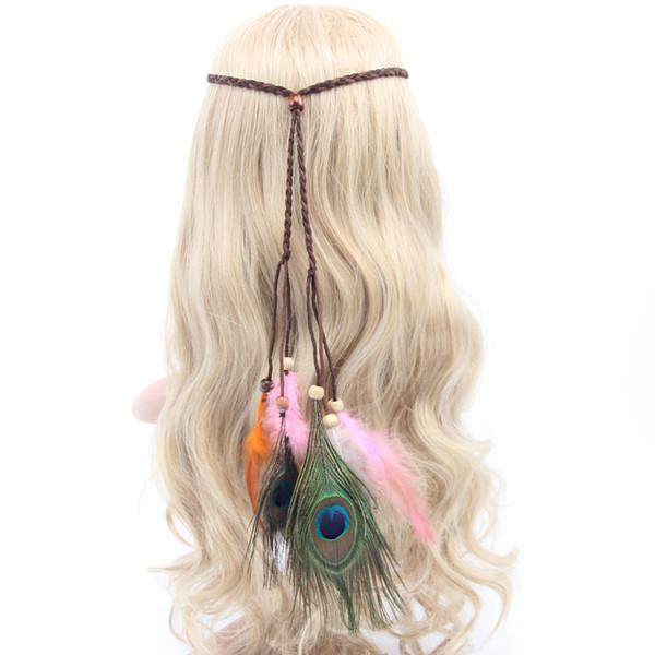 Bohemio Hippie Diadema Mujer Accesorios para el cabello Fiesta Festival Hairband para Damas Mujer Haarband Indian Peacock Pluma Tiara