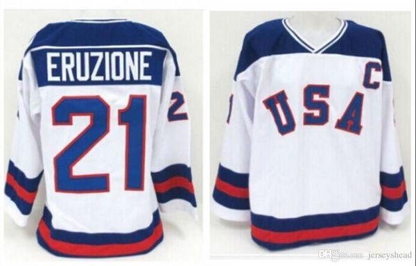 Camisetas de hockey Vintage 1980 Miracle On Ice Team EE. UU. Mike Eruzione 21 Camiseta de hockey Ropa deportiva