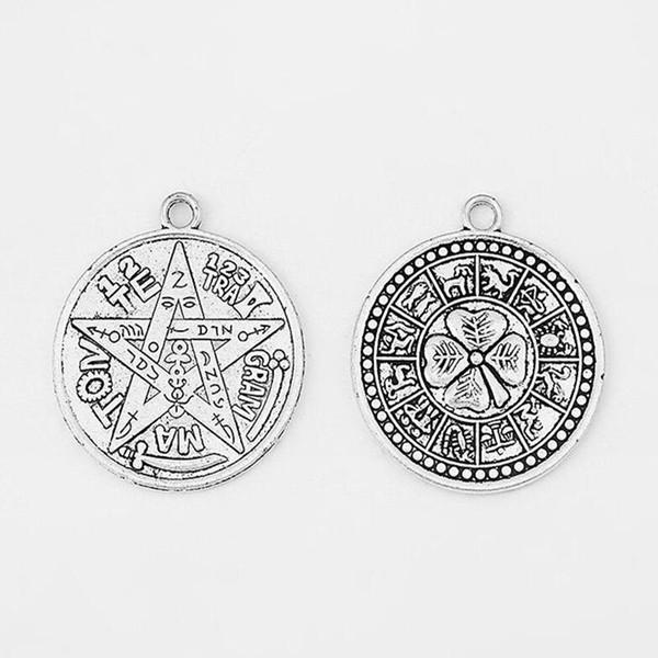 Tetragrammaton Plata Talisman Pentagram Pagan Wiccan Talisman Charms Pendant Alloy Gothic Amulet Vintage Silver For Jewelry Bracelet