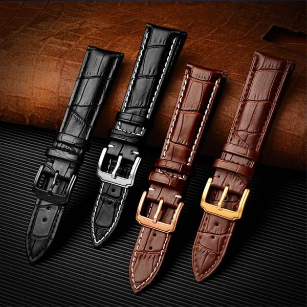 Genuine Leather Watch Bands Top Calf Grain Leather Watch Strap Bracelets Metal Clasp 18mm 19mm 20mm 22mm 24mm for Men Women
