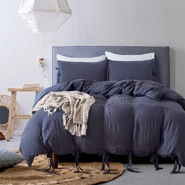 Reine Farbe Lace up Luxus Bettbezug Rüschen Set König / Königin / Twin Größe 3 teile / satz 3D Print Geometrische Bettwäsche Quilt Sheet 200 * 200