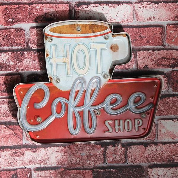 Hot Coffee Shop Vintage LED Neonlicht Blechschilder Bar Pub Dekorative Malerei Cafe Wandmalerei Hauptwanddekor Werbung Zeichen