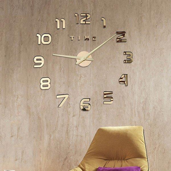 3d Wanduhr Luminious Neue Taktgeber-Uhr-Wanduhren Horloge 3D DIY Acryl Spiegel Aufkleber Luminova Quarz Reloj de Pared