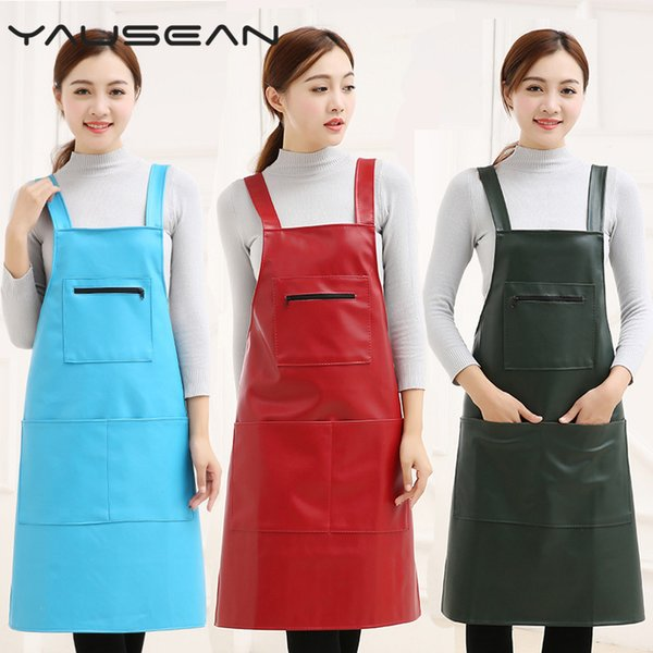 New Hot Fashion Lady Men Leather High-grade Kitchen Apron For Cooking Baking Restaurant Women PU Waterproof pinafore Home tools Y200103