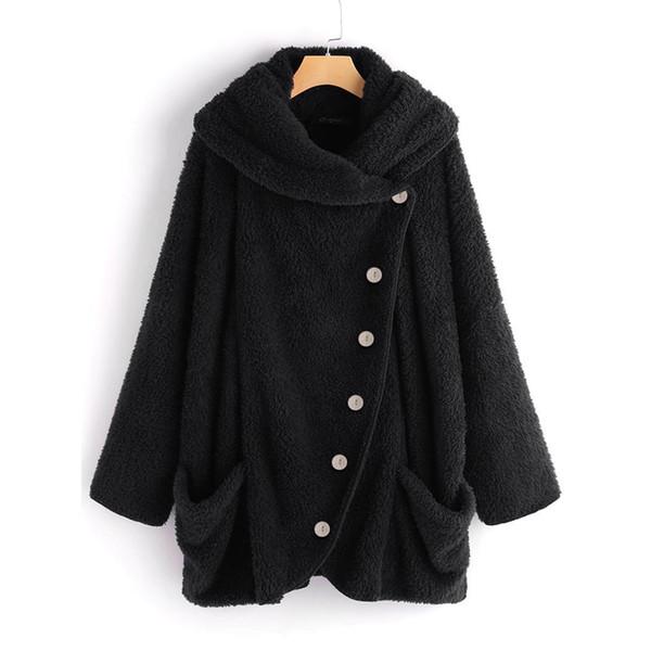 Women Casual Cowl Collar Long Sleeve Pocket Split Coat Outwear
