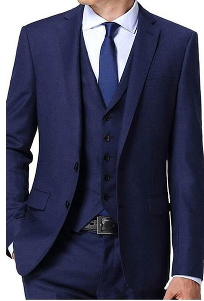 New Design Two Button Blue Groom Tuxedos Groomsmen Best Man Suits Mens Wedding Blazer Suits (Jacket+Pants+Vest+Tie) 1103