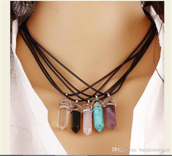 Gemstone Rock Natural Crystal Quartz Healing Point Chakra Pendant Necklace