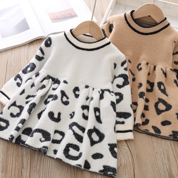 Meninas vestidos crianças leopardo grãos vestido de manga comprida camisola de malha crianças listra Princesa do inverno vestido queda de bebê meninas roupas F10265