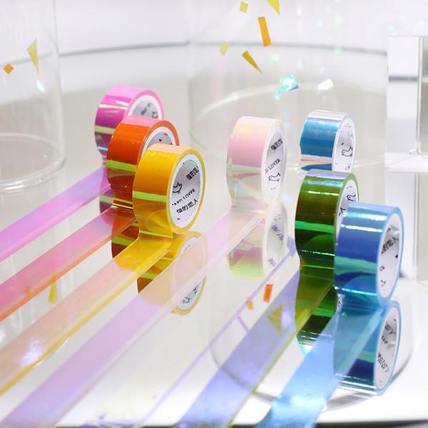 2019 Nastro adesivo Washi arcobaleno lucido Decorazione fai da te Scrapbooking Planner Nastro adesivo adesivo Etichetta adesiva 2016